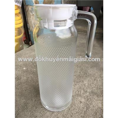 Bình thủy tinh tròn 1 lít kiểu chấm bi nhỏ, nắp nhựa màu trắng - Kt: (24.5 x 8.5 x 11.5) cm