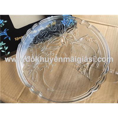 Dĩa thủy tinh Indo hoa nổi size cực đại - Đường kính 32.5 cm