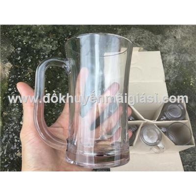 Bộ 6 ly thủy tinh quai miệng loe uống bia/ nước ngọt dung tích 350ml