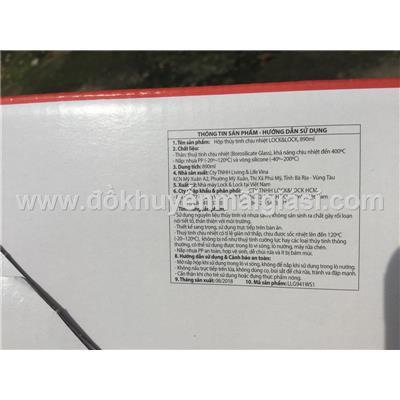Hộp thủy tinh chữ nhật chịu nhiệt Lock & Lock 890m nắp có ron cao su - Mã sp: LLG941  Hop thuy tinh chu nhat chiu nhiet Lock & Lock 890m nap co ron cao su - Ma sp: LLG941