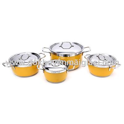 Màu vàng: Bộ 4 nồi inox sắc màu, 3 đáy, nắp inox FiveStar - Size (16cm, 18cm, 20cm, 24cm)