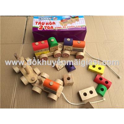 Bộ đồ chơi gỗ tàu hỏa 2 toa Bobby