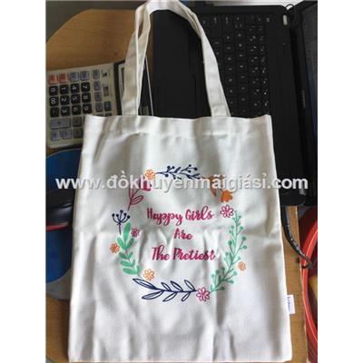 Túi xách chữ nhật dáng đứng vải bố có hoa - Kt: (36 x 31) cm