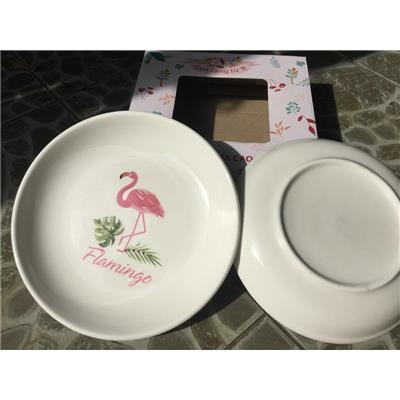 Bộ 2 dĩa gốm tráng men hình chim hồng hạc 8 inch - Kt: (21 x 21 x 3) cm  Bo 2 dia gom trang men hinh chim hong hac 8 inch - Kt: (21 x 21 x 3) cm