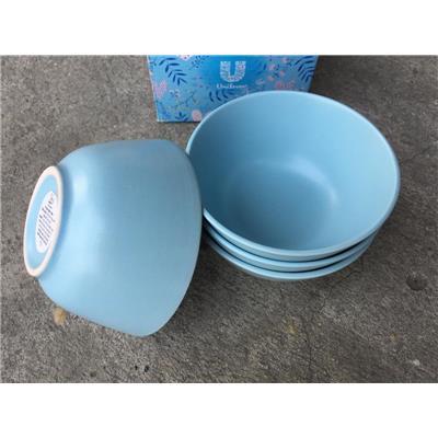 Hộp 4 chén sứ màu xanh Pastel kiểu Ikea 4.6 in - Kt chén: (12 x 12 x 5.8) cm