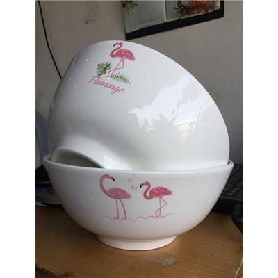 Bộ 2 tô gốm tráng men cỡ lớn hình chim hồng hạc - Tô 8 inch: đường kính 20 cm