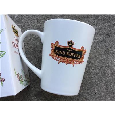 Ly sứ cao cấp Donghwa có quai cầm dung tích 350ml - KING COFFEE tặng, HỘP TRẮNG  Ly su cao cap Donghwa co quai cam dung tich 350ml - KING COFFEE tang, HOP TRANG