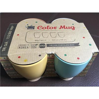 Bộ 4 ly sứ cao cấp Donghwa màu pastel tuyệt đẹp - Omo tặng