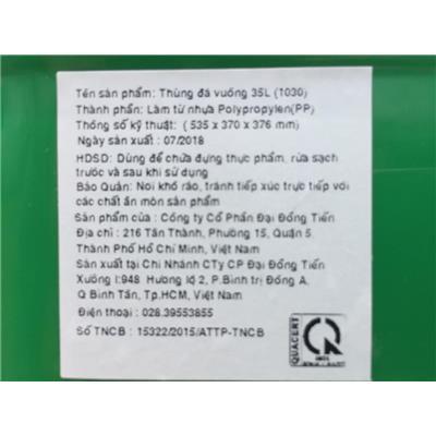 Thùng đá Milo nhựa Đại Đồng Tiến dung tích 35 lít, có bánh xe, quai kéo, nút xả - Kt: (53.5 x 37 x 37.6) cm - Phí giao hàng tính riêng 30 ngàn/ sản phẩm  Thung da Milo nhua Dai Dong Tien dung tich 35 lit, co banh xe, quai keo, nut xa - Kt: (53.5 x 37 x 37.6) cm - Phi giao hang tinh rieng 30 ngan/ san pham
