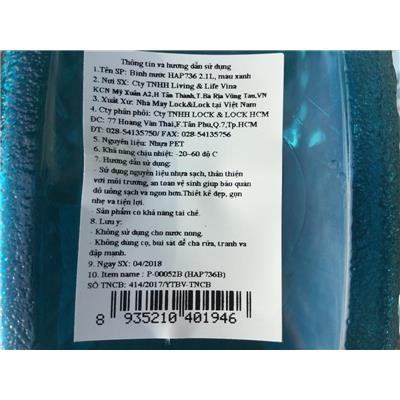 Bình nhựa Lock & Lock 2.1 lít HAP736 nắp bật - Bình trắng, nắp xanh