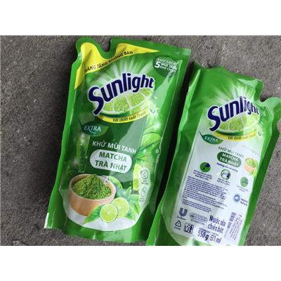 Túi nước RỬA CHÉN Sunlight Matcha trà Nhật khử mùi tanh 550g - Date mới