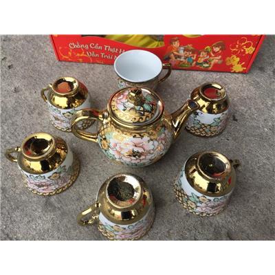 Bộ bình trà 6 ly Omo cẩn hoa nhũ vàng tuyệt đẹp