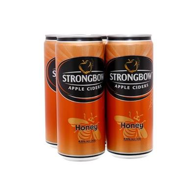 4 lon nước ép táo lên men vị MẬT ONG (330ml x 4) - StrongBow Apple Ciders HONEY - Date xa (Không sỉ)
