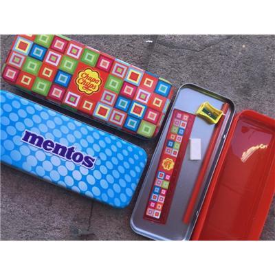 Bộ dụng cụ học tập MENTOS/ CHUPA CHUPS 5 món: Hộp viết + gôm + thước + bút chì + đồ gọt (chuốc)
