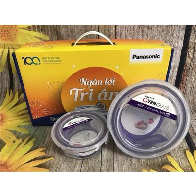 Bộ 2 hộp thủy tinh cao cấp chịu nhiệt Komax của Hàn Quốc - Panasonic tặng có hộp đẹp