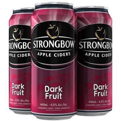 4 lon nước ép táo lên men vị DÂU ĐEN (330ml x 4) - StrongBow Apple Ciders DARK FRUICE - Date xa (Không sỉ)