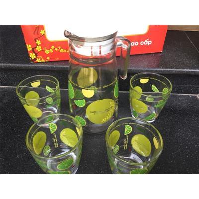 Bộ bình + 4 ly thủy tinh in hình trái chanh đựng trong hộp xốp - Sữa Nutifood tặng