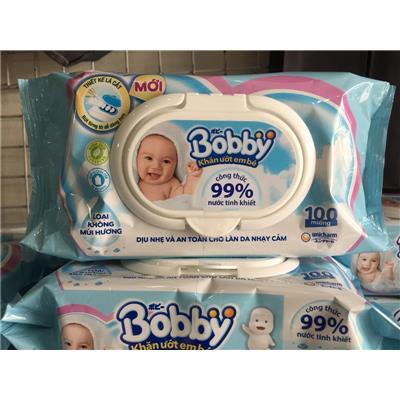 Bịch KHĂN ƯỚT BOBBY không mùi 100 miếng an toàn cho trẻ sơ sinh - Date 2021 (Không sỉ)