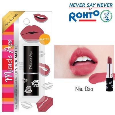 Son lì Rohto Miracle Apo Lipstick Matte Màu NÂU ĐÀO 4g - Date: 2021