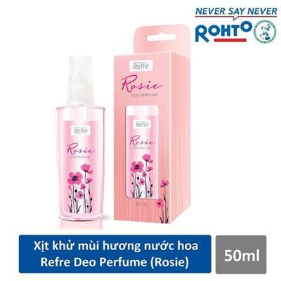 Chai xịt khử mùi toàn thân hương nước hoa Rohto REFRE DEO PERFUME ROSIE 50ml - Date: 2020