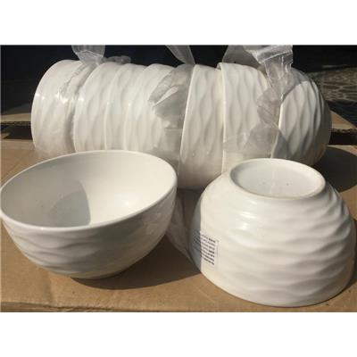 Lốc 10 chén cơm sứ trắng kiểu VÂN LƯỢN SÓNG - Kt: (11.8 x 5.9) cm