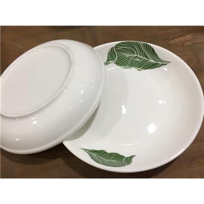 Bộ 2 dĩa sứ trắng in HÌNH LÁ đường kính 8.2 inch - Kt: (21 x 21 x 3.5) cm - HỘP ĐẸP