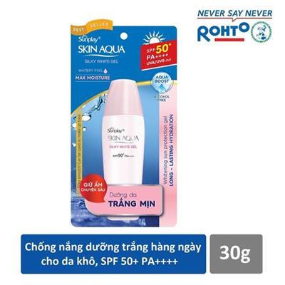 Gel dưỡng da chống nắng Rohto Sunplay Skin Aqua Silky White Gel SPF50 30g - Date: 2021