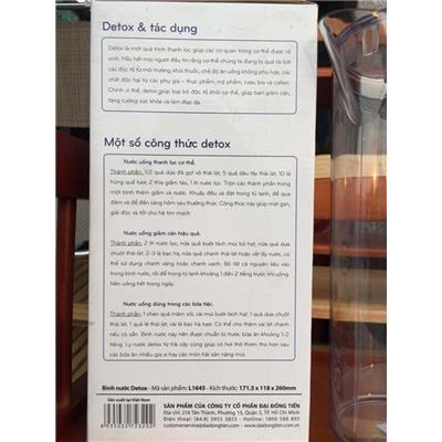 Bình nước Detox 2 lít nhựa Đại Đồng Tiến L1645