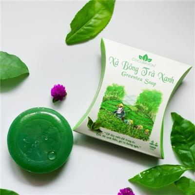 Bánh xà bông trà xanh thiên nhiên cao cấp Cocosavon 100g - Thương hiệu Cô Ba - Date: 2021  Banh xa bong tra xanh thien nhien cao cap Cocosavon 100g - Thuong hieu Co Ba - Date: 2021