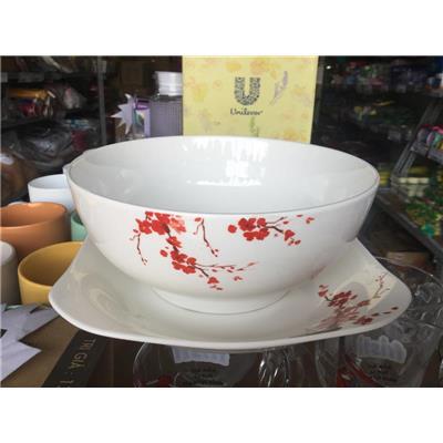 Bộ tô + dĩa sứ in hình HOA ĐÀO Unilever tặng - HỘP VÀNG
