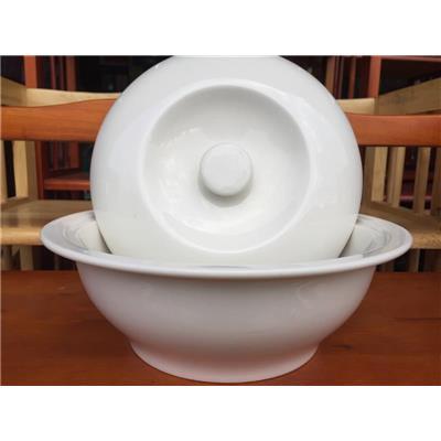 Thố + nắp sứ trắng size lớn 9.5 inch - Kt: (24.2 x 8) cm