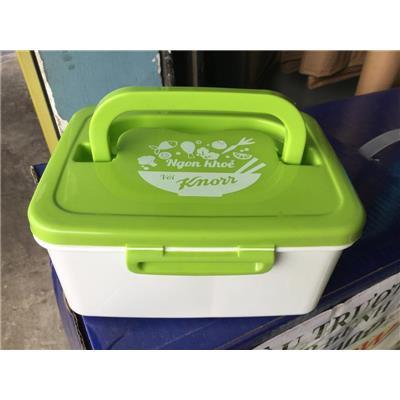 Hộp cơm nhựa Knorr 3 ngăn có quai xách - Kt: (17.5 x 13.5 x 8) cm