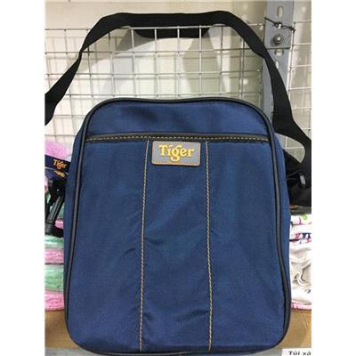 Túi TIGER đeo chéo vải dù nhiều ngăn màu XANH ĐEN (để lọt cuốn tập học sinh/ Ipad) - Kt: (27 x 22 x 6) cm