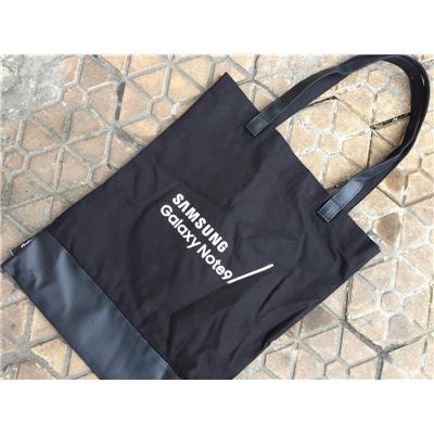 Túi xách chữ nhật dáng đứng vải bố MÀU ĐEN SAMSUNG tặng - Kt: (41.5 x 33.5) cm