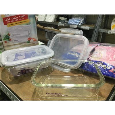 Bộ 2 hộp thủy tinh CHỮ NHẬT chịu nhiệt Lock & Lock LLG426 630ml nắp gài - Sữa PediaSure tặng