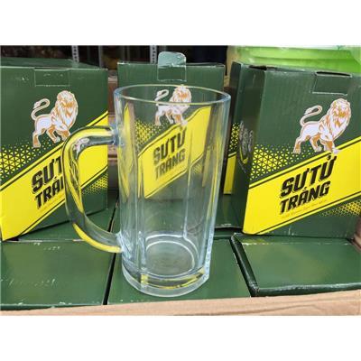 Ly thủy tinh quai uống bia Sư Tử Trắng cỡ lớn 550ml - Kt: (15 x 7.2 x 7.2)