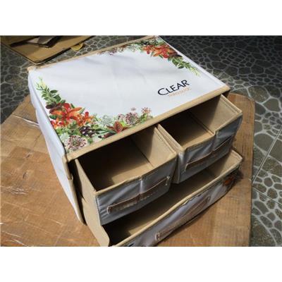 Thùng vải đựng đồ đa năng xếp gọn Clear Thảo Dược 3 ngăn có hoa - Kt: (30 x 23 x 21) cm