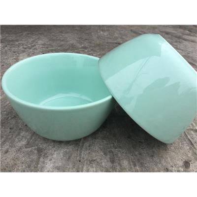 Bộ 2 tô gốm sứ tráng men MÀU XANH NGỌC 6 inch, kiểu thân cao - Kt: (15.8 x 15.8 x 8) cm