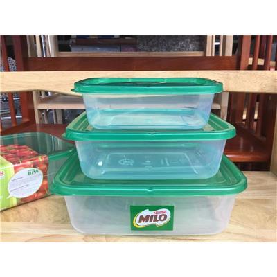 Bộ 3 hộp nhựa FoodPark Đại Đồng Tiến L503, Milo tặng