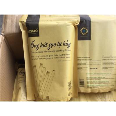 Bịch ống hút gạo OCHAO 500g ĂN ĐƯỢC - Date: 06/2020 (80 - 100 ống)