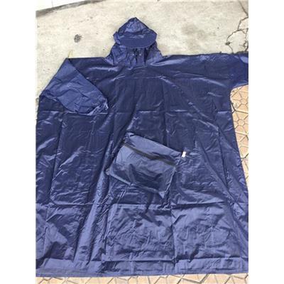 Áo Mưa Vải Dù Không Xẻ Tà (Bít Sườn) Màu XANH ĐEN - Kt: (130 x 100) cm