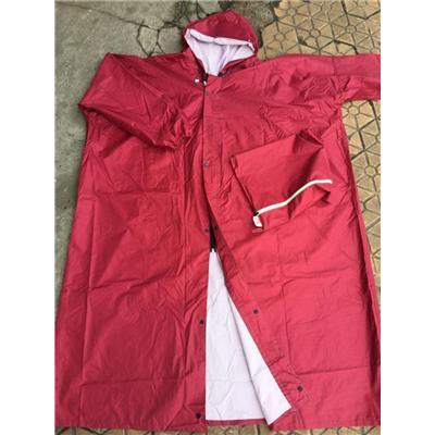 Áo Mưa Vải Dù Không Xẻ Tà (Bít Sườn) Gài Dây Kéo + Nút Trước Màu ĐỎ ĐÔ - Kt: (130 x 100) cm