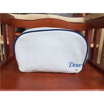 Bóp Cầm Tay Dove Vải Bố Trắng Viền Xanh - Kt: (24 x 15 x 4) cm