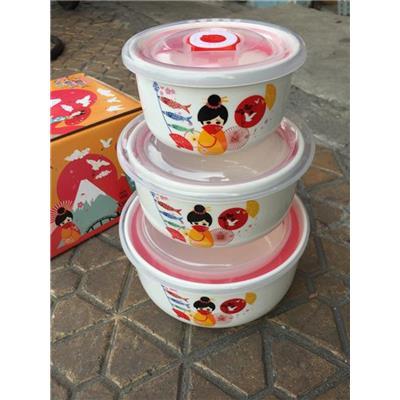 Hộp 3 THỐ Gốm Tráng Men Nắp Nhựa Hút Chân Không KIỂU NHẬT - Unilever Tặng