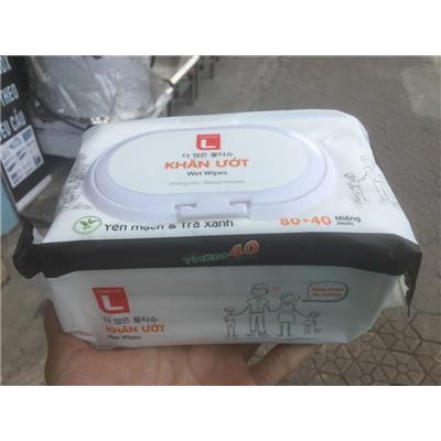 Khăn Ướt Choice L Yến Mạch & Trà Xanh 120 Miếng - Date: 2024 (Nhãn hàng riêng của Lotte Hàn Quốc)