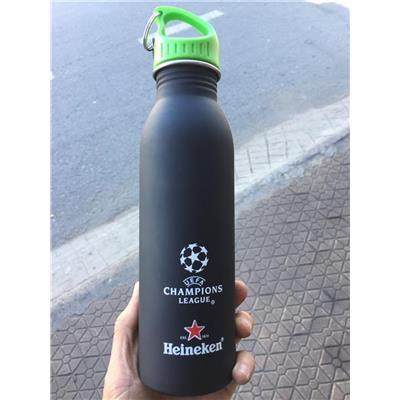 Bình Nước Thể Thao Heineken Nhôm Bọc Silicon Có Móc Treo - Dt 750ml
