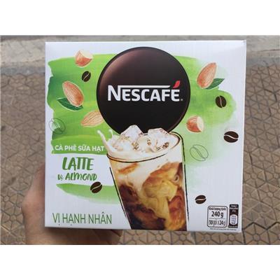 Hộp 10 Gói Cà Phê Sữa Hạt NesCafe Vị Hạnh Nhân 240g (10 gói x 24g) - Date: 12/2021