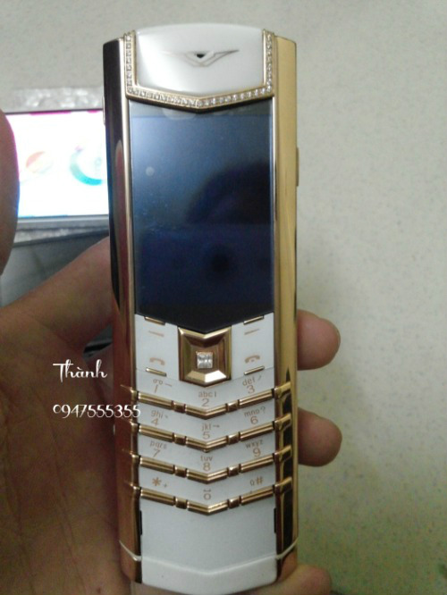 Ban Vertu Signature S Pure White Red Gold Diamond Fake