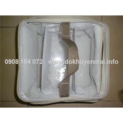 Túi xách dạng hộp chia ngăn có quai xách đựng linh tinh