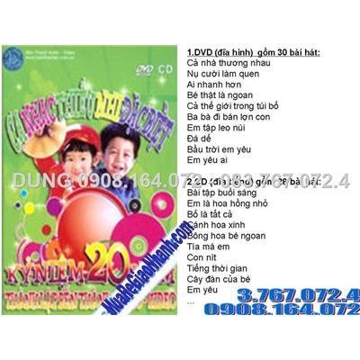 2 đĩa gốc DVD và CD nhạc thiếu nhi